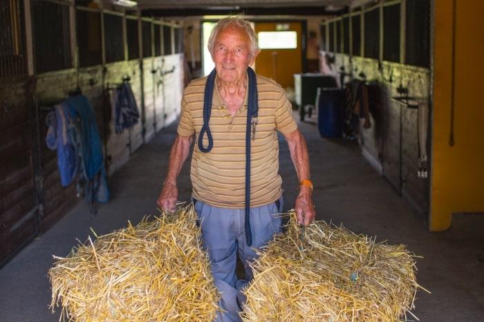 Ingvar Olsson, 96, är Sveriges äldsta hästskötare. Foto av Thomas Engström