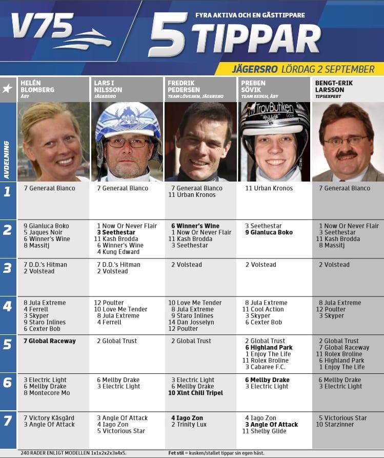 Fem tippar V75 till Jägersro lördag 2 september 2017