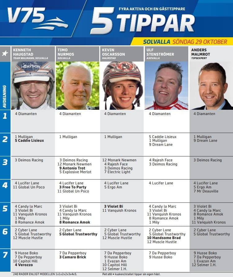 Fem tippar V75 till Jägersro Söndag 29 oktober 2017
