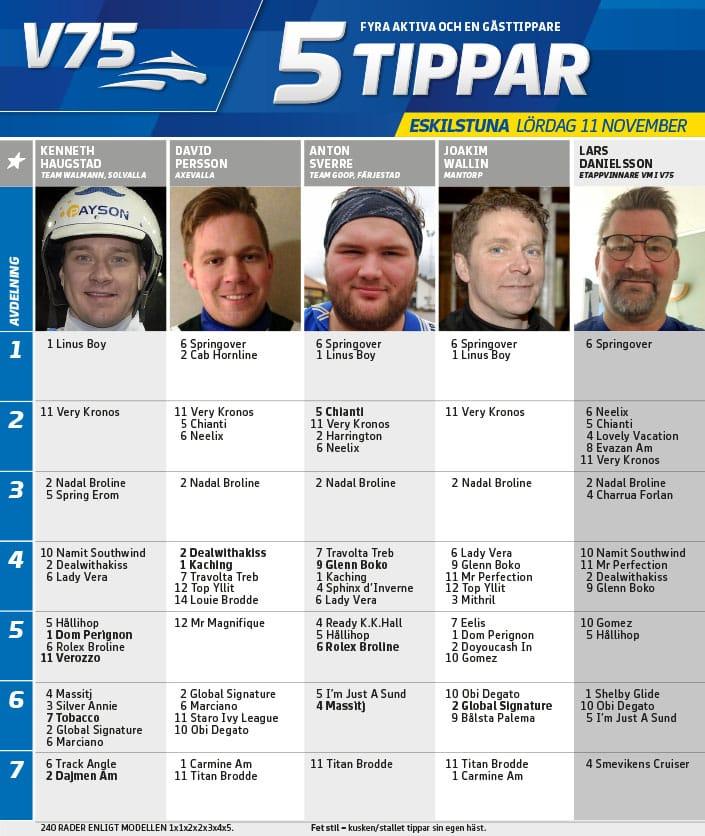 Fem tippar V75 till Eskilstuna 11 november 2017