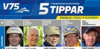 Fem tippar V75 till Solvalla 25 november 2017