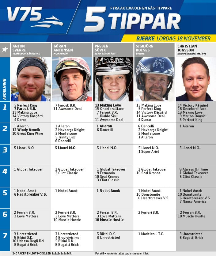 Fem tippar V75 till Bjerke 18 november 2017