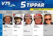 Fem tippar V75 till Jägersro 13 januari 2018