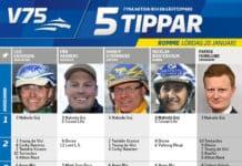 Fem tippar V75 till Romme 20 januari 2018