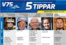 Fem tippar V75 till Färjestad 30 juni 2018