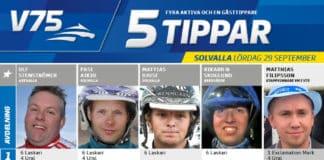 Fem tippar V75 till Solvalla 29 september 2018