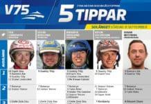 Fem tippar V75 till Solänget 8 september 2018