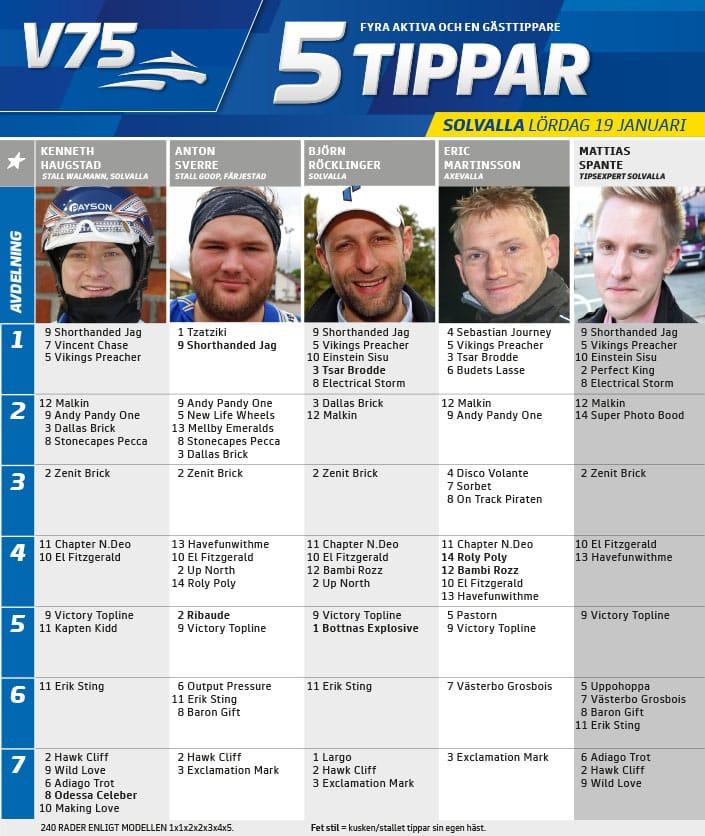 Fem tippar V75 till Solvalla Lördag 19 januari 2019
