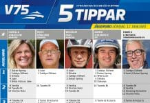 Fem tippar V75 lördag Jägersro 12 januari 2019