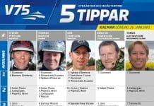 Fem tippar V75 till Kalmar Lördag 26 Januari 2019