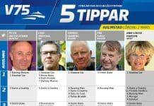Fem tippar V75 till Halmstad Lördag 2 mars 2019
