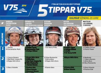 Fem tippar V75 till Kalmar 23 juni 2019