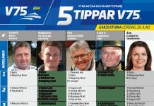 Fem tippar V75 till Eskilstuna Lördag 29 juni 2019