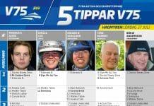 Fem tippar V75 till Hagmyren Lördag 27 Juli 2019