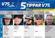 Fem tippar V75 till Bergsåker lördag 24 augusti - 90 miljoner Jackpot
