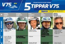 Fem tippar V75 till Jägersro Lördag 31 augusti 2019