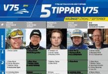 Fem tippar V75 till Solänget Lördag 7 september 2019