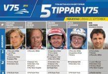 Fem tippar V75 till Färjestad Lördag 21 september 2019