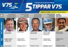 Fem tippar V75 till Eskilstuna lördag 9 november 2019