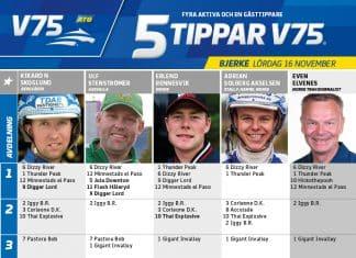 Fem tippar V75 till Bjerke 16 november 2019