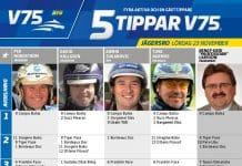 Fem tippar V75 till Jägersro Lördag 23 november 2013