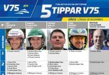 Fem tippar V75 till Gävle Lördag 30 november 2019