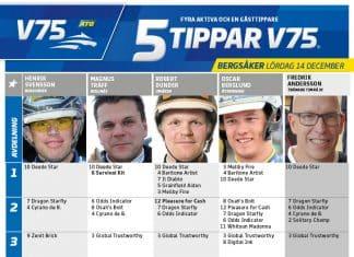 Fem tippar V75 till Bergsåker 14 december 2019