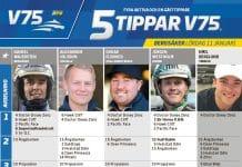 Fem tippar V75 till BERGSÅKER Lördag 11 Januari 2020