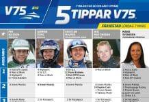 Fem tippar V75 till Färjestad 7 mars 2020