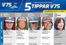 Fem tippar V75 till Halmstad 14 mars 2020