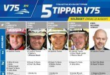 Fem tippar V75 till SOLÄNGET 22 augusti 2020