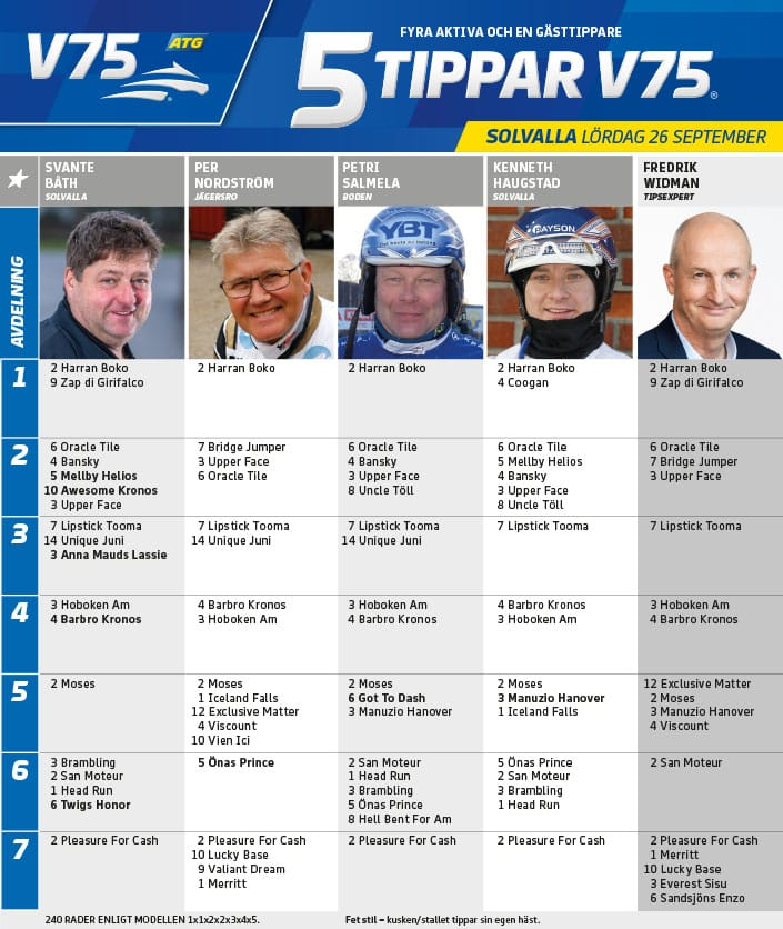Fem tippar V75 till Solvalla lördag 26 september 2020