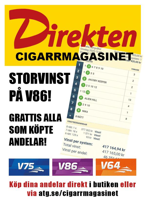 Dags att rygga andelarna på V75 i helgen hos vår samarbetspartner på andelsspelet där vi spelar vårt eget system ALLOMTRAV.INFO samt JANNE JACKPOT och SPELGUIDEN. Jannes tips kommer ut ikväll. https://www.atg.se/cigarrmagasinet 417.000 på V86 i onsdags för systemet V86 SPIKEN!