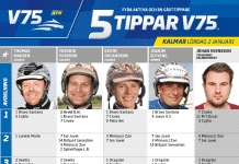 Fem tippar V75 till KALMAR 2 januari 2021