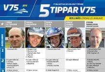 Fem tippar V75 till Bollnäs 23 januari 2021