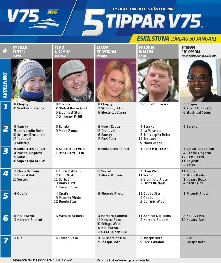 Fem tippar V75 till Eskilstuna 30 januari 2021