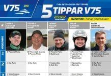 Fem tippar V75 till Mantorp 20 februari 2021