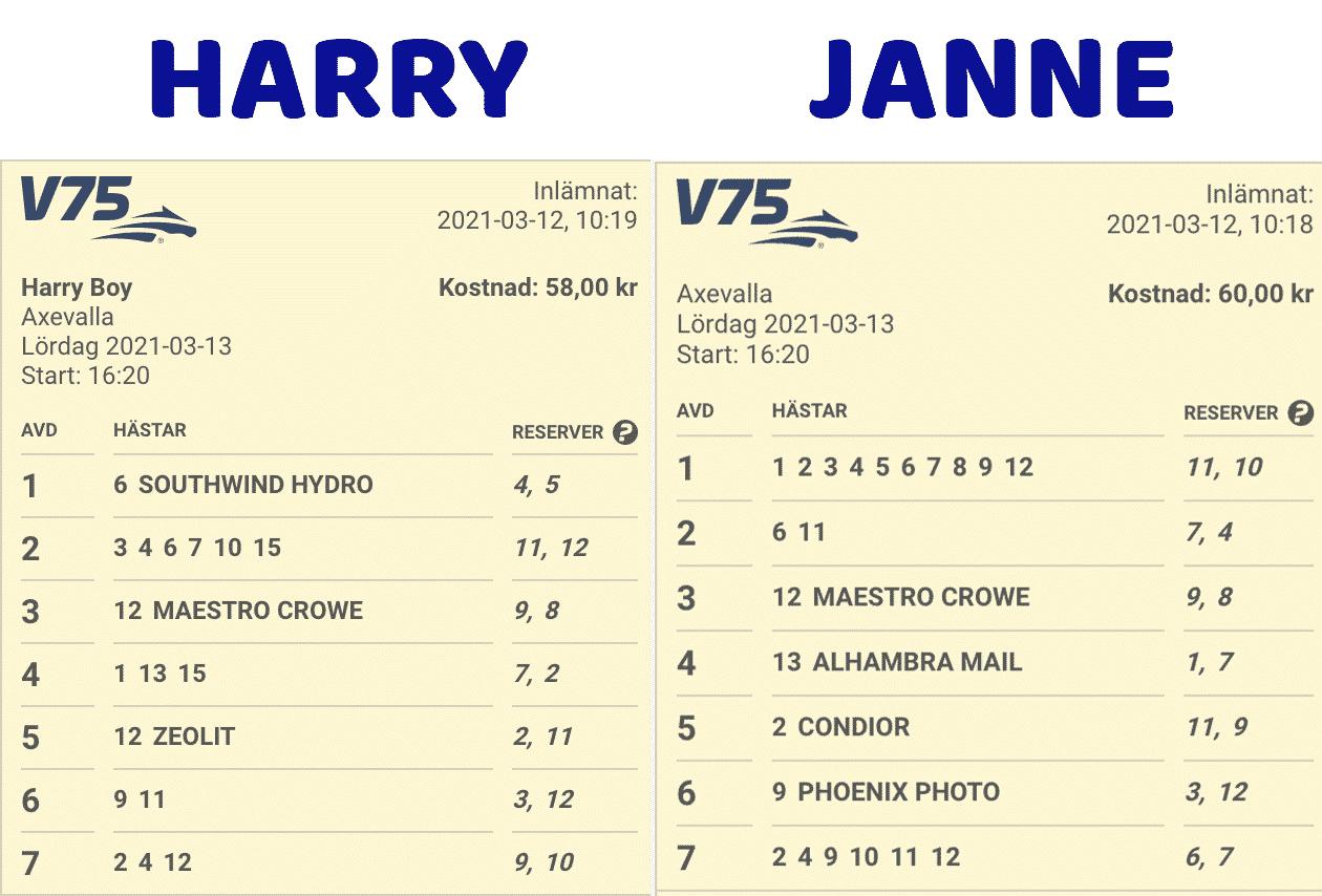 Samtidigt som Janne Jackpot och Harry Boy för en evig tvekamp mot varandra så samsas de alltid om ett gemensamt andelsspel på lördagarna och så även idag! Ett hopkok av deras 50-kronorssystem! In och kolla på