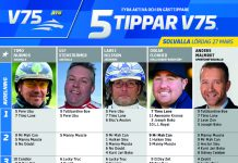 Fem tippar V75 till Solvalla 27 mars 2021