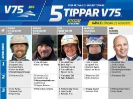Fem tippar V75 till Gävle 21 augusti 2021