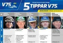Fem tippar V75 till Bergsåker 28 augusti 2021