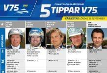 Fem tippar V75 till Färjestad 18 september 2021
